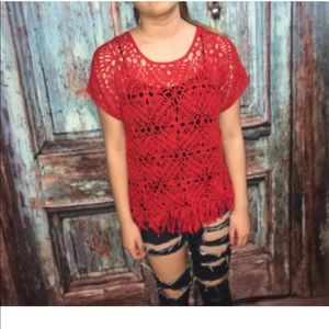 Chico's red fringe crochet top